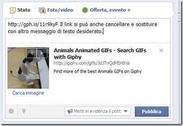 Giphy incollare link GIF su Facebook