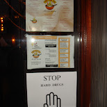 funny sign - stop hard drugs at a chinese restaurant in Oud-IJmuiden, Noord Holland, Netherlands