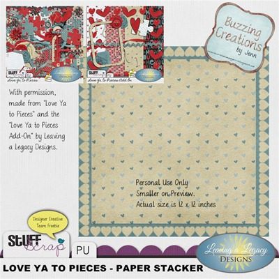 Leaving a Legacy Designs - Love Ya to Pieces - Paper Stacker Preview