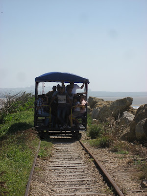 took this little ramshackle train to the tip of the coast, where the Caribbean sea and Rio Magdalena meet