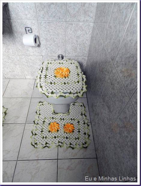 Jogo Banheiro Croche com Flor 1b
