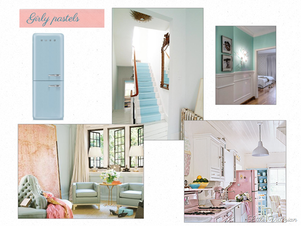 Girly pastel mood board