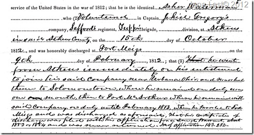 Declaration of Soldier Pension Cropped Section