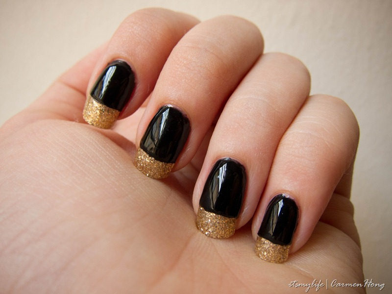 Nail Art: Black Gold Tipped (French Mani style) | It's my ...