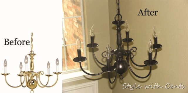 rustoleum oil rubbed bronze spray paint chandelier before after