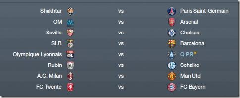First knockout round of CL