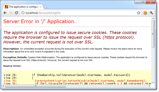 Server error when attempting to logon over HTTP after forms auth set to require HTTPS