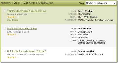 In Ancestry.com search results, they stacked the information