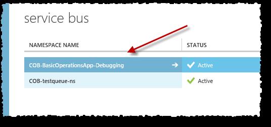 App debug - service bus in Azure