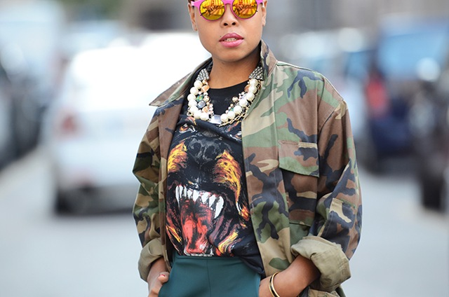 NobodyKnowsMarc.com-Gianluca-Senese-street-style-fashion-photography-milan-fashion-week-military-jacket-camouflage-mirror-sunglasses-pink-givenchy-dog-tee-shirt-big-necklace-