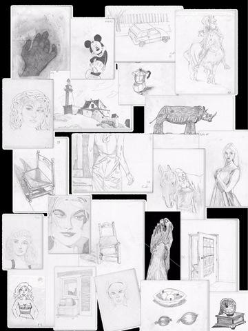 Esercizi di disegno realizzati seguendo le istruzioni del libro Disegnare con la parte destra del cervello di Betty Edwards
