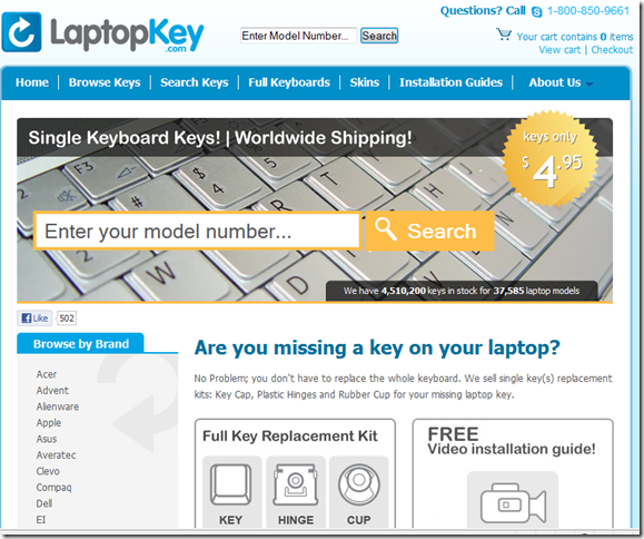 Laptop Keys Replacement  Keyboard Keys - LaptopKey.com - Windows Internet Explorer 452013 45847 PM