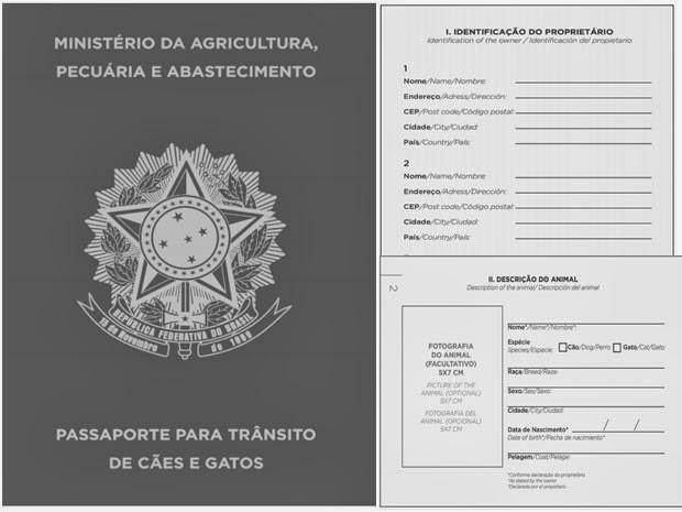 Modelo da capa e de páginas do passaporte de cães e gatos (Foto: Reprodução/Diário Oficial da União)