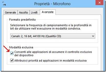 Microfono Windows Consenti alle applicazioni di assumere il controllo esclusivo del dispositivo