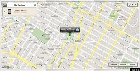 iPhone en el mapa geográfico de iCloud