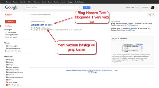 Google Reader Yeni Yazıyı Görüntüleme