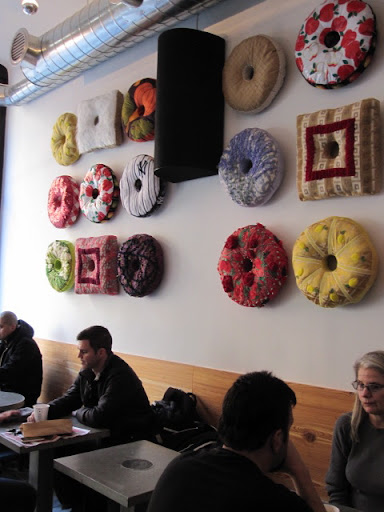 Doughnut art bedecks the walls.