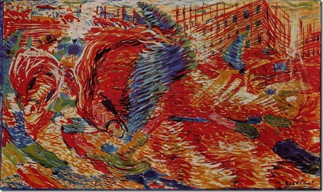 Umberto_Boccioni_La ciudad se levanta, 1910, Museo de Arte Moderno, Nueva York.