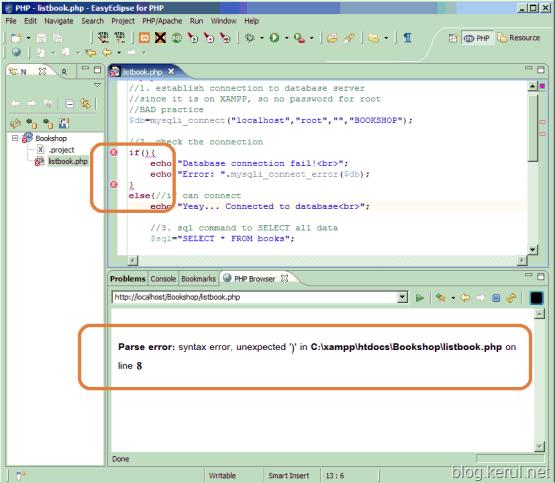 error editor in PHPEclipse