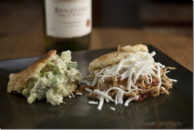 2009 Benziger Family Winery Carneros Chardonnay with Reina Pepiada and Pollo Mechado Arepas