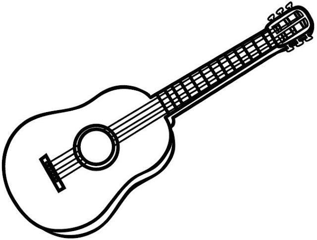 Asombroso Guitarra Acústica Para Colorear Embellecimiento - Páginas ...