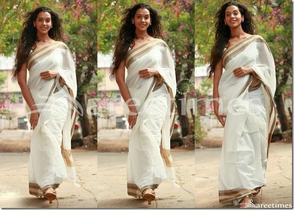 Anu_Priya_White_Saree