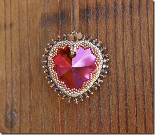 Swarovski Crystal Astral Pink heart beaded bezel pendant necklace by Rachel Graham