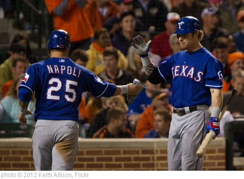 'Mike Napoli, Josh Hamilton' photo (c) 2012, Keith Allison - license: http://creativecommons.org/licenses/by-sa/2.0/