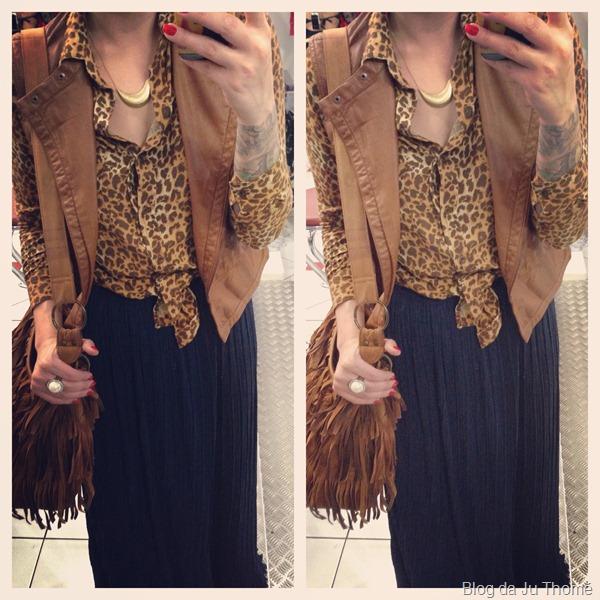 look com saia longa plissada, camisa estampada e colete de couro (2)