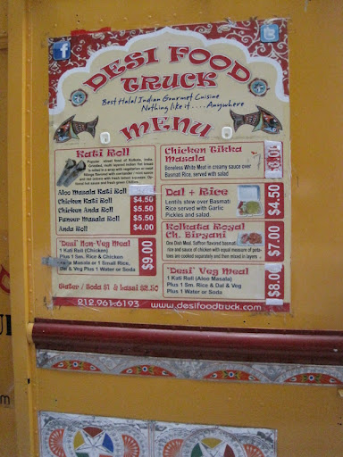 The menu at Desi Food Truck offers traditional Indian cuisine.