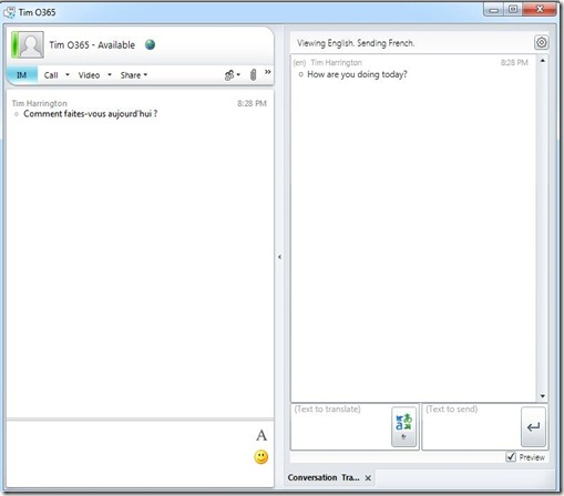 lync add-in - translator - IM