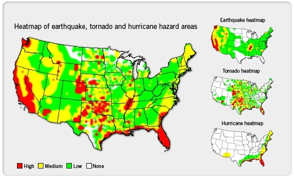 Heatmap of earthquake, tornado and hurricane hazard areas