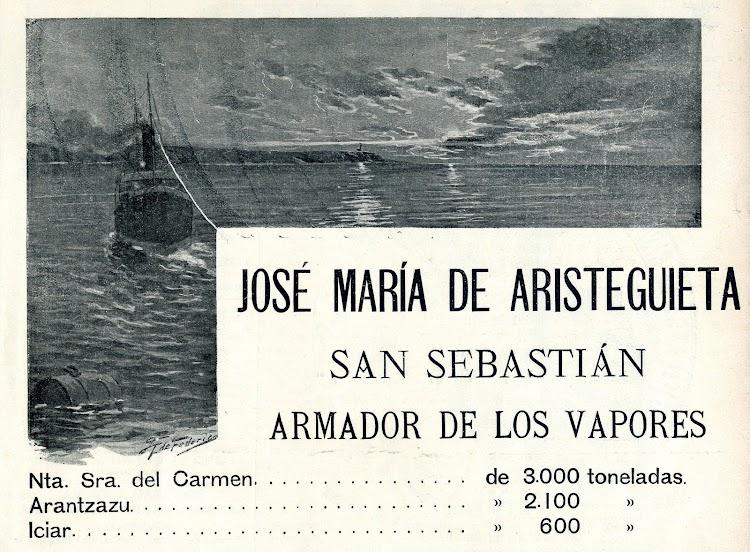 Anuncio de los vapores de Jose Mª de Aristeguieta. De la revista EL MUNDO NAVAL ILUSTRADO. Año 1901.JPG