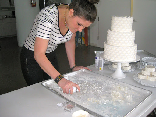 Here I am spraying some edible pearl paint on the sugar gemstones so that they would really pop when placed on the 