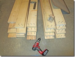 wooden beds staged with pre-drilled ends