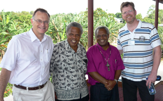 LPI International Director Chris Wright, Secretary of South Sea Evangelical Church Eric Takila, Bishop Sam Sahu (Diocese of Malaita), and Associate Director of Langham Preaching Paul Windsor