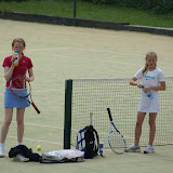 Sue Smith and Emma Neil Smith take a break during the U12 finals match. Sue (Sligo Tennis Club) went on to win the match.