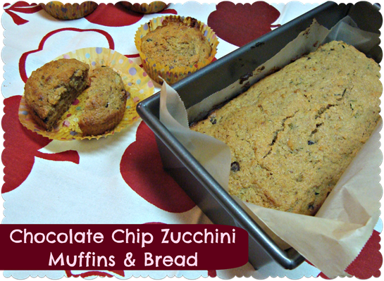 chocolate chip zucchini muffins and bread