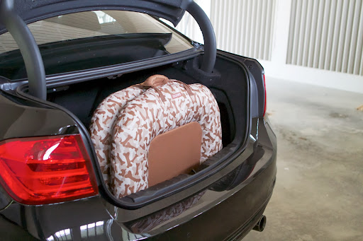 This Piped Pillow Bed folds up for easy transport.