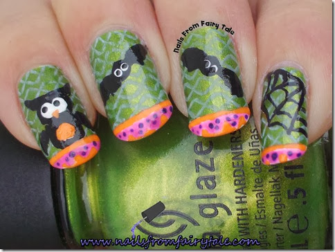 china glaze cha cha cha with owl bats and web