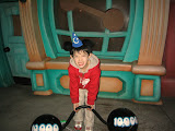 Kai lifting weights in Toon Town