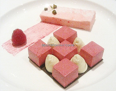 The Halia dessert Raspberry mousse, rose marshmallow and vanilla Chantilly mascarpone cream Singapore Botanics Garden