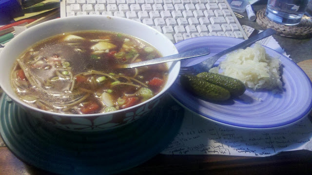 miso soup with pickled and fermented vegetables