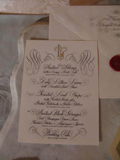 Bernard Maisner's calligraphy graces this menu card.