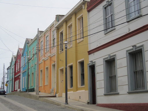 Colorful Valpo houses - it's impossible to find two neighboring buildings painted the same color!