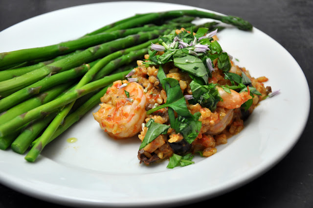 Tomato and Shrimp Risotto with Asparagus.JPG