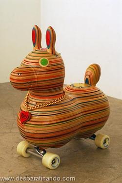 arte esculturas com skate reciclado desbaratinando  (38)