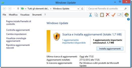 Scarica e installa aggiornamenti Windows 8
