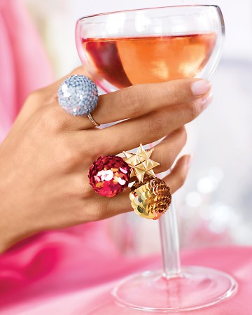 Make and wear one or several of these rings. It's the perfect accessory to dress up a simple outfit. http://www.marthastewart.com/296344/sequin-bauble-ring