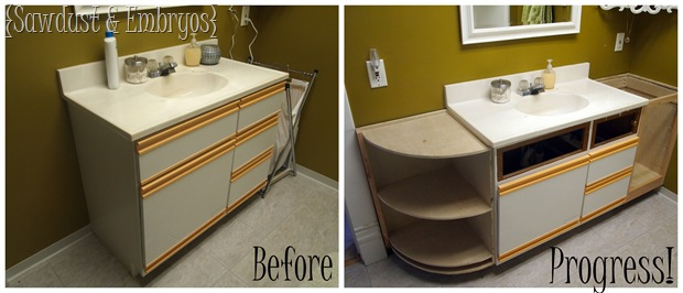 Extending the Bathroom Vanity {Sawdust and Embryos}